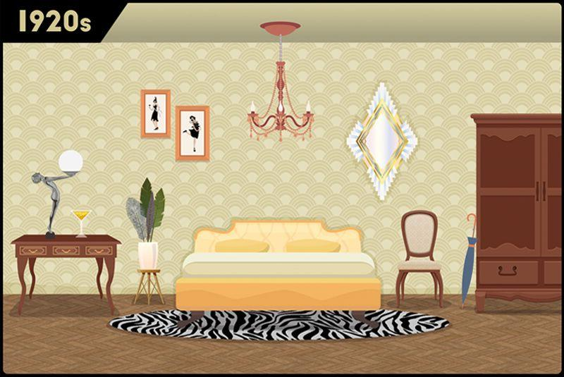 <p>In the roaring 20s, bedrooms were incredibly glamorous and luxurious. The war had just ended, so people celebrated by adding gold accents and luxurious fabrics into their homes.  </p>