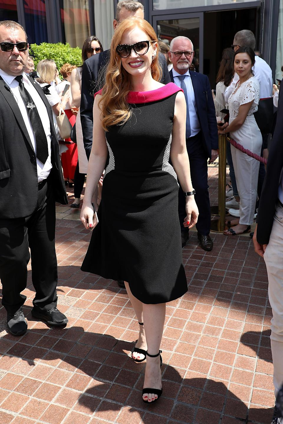 <p>The actress stepped out for the day's proceedings in a chic LBD by Wolk Morais with a contrast neckline. <em>[Photo: Getty]</em> </p>