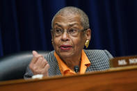 Del. Eleanor Holmes Norton speaks during a House Oversight and Government Reform Committee hearing to examine a Republican-led Arizona audit of the 2020 presidential election results in Arizona's most populous county, Maricopa, on Capitol Hill in Washington, Thursday, Oct. 7, 2021. (Joshua Roberts/Pool via AP)