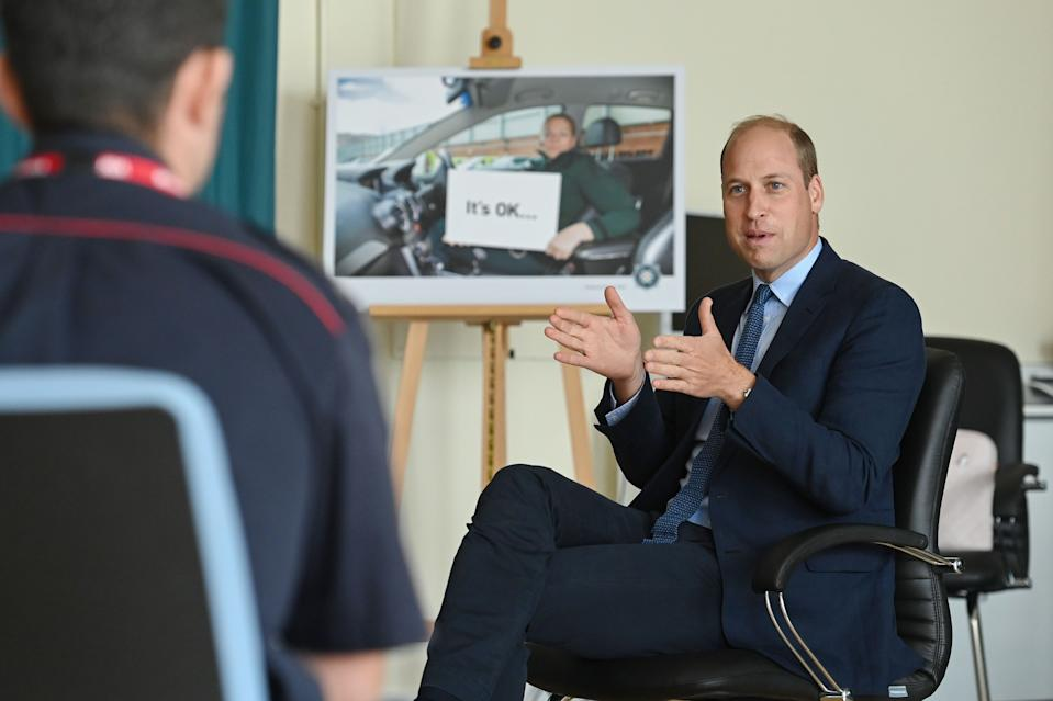 BELFAST, NORTHERN IRELAND - SEPTEMBER: Prince William, Duke of Cambridge meets attendees of a PSNI Wellbeing Volunteer Training course, including representatives from the Ambulance and Fire and Rescue services, to talk about mental health support within the emergency services at PSNI Garnerville on September 09, 2020 in Belfast, Northern Ireland. (Photo by Tim Rooke - WPA -Pool/Getty Images)