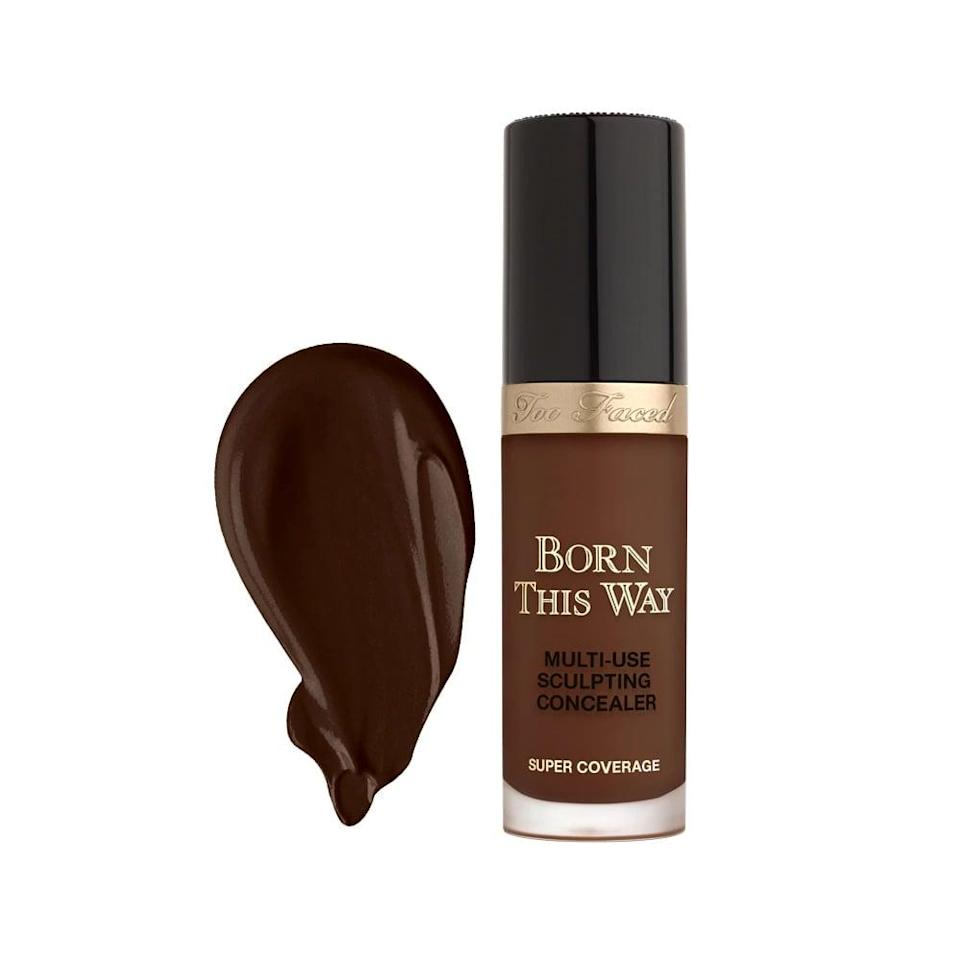 """<p><strong>The Product:</strong> <a href=""""https://www.sephora.com/product/born-this-way-super-coverage-multi-use-sculpting-concealer-P432298?skuId=2223121&amp;icid2=skugrid:p432298"""" class=""""link rapid-noclick-resp"""" rel=""""nofollow noopener"""" target=""""_blank"""" data-ylk=""""slk:Too Faced  Born This Way Super Coverage Multi-Use Concealer"""">Too Faced<br> Born This Way Super Coverage Multi-Use Concealer </a> ($30)</p> <p><strong>Customer Review:</strong> """"This concealer is literally so bomb. I bought for under eye brightening but upon seeing the coverage and how blendable this was, had to buy my foundation shade to use to cover up minor and major blemishes. For every day makeup, I wear as a skin corrector with no foundation or with something light like a tinted moisturizer base, and for full glam it's so good too. You can really manipulate it to look as glowy or matte as u want based on setting powder and priming preferences. Gives such an air brushed finish and I am absolutely obsessed.""""</p>"""