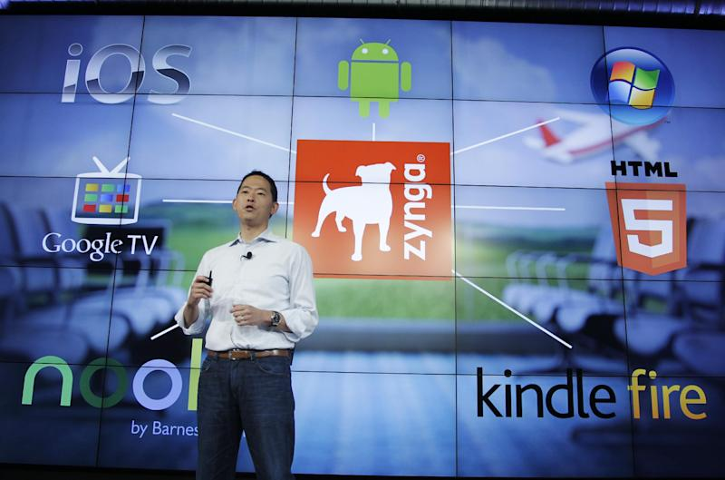 Zynga David Ko, Chief Mobile Officer, talks about the Zynga network during an announcement at Zynga headquarters in San Francisco, Tuesday, June 26, 2012. Zynga said Tuesday it is expected to add more Web games to its digital arcade and introduce more ways to play them as it tries to lessen its dependence on Facebook and generate more revenue. (AP Photo/Paul Sakuma)