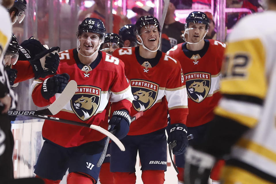 Florida Panthers center Noel Acciari (55) smiles after scoring against the Pittsburgh Penguins during the second period of an NHL hockey game Tuesday, Oct. 22, 2019, in Sunrise, Fla. (AP Photo/Brynn Anderson)