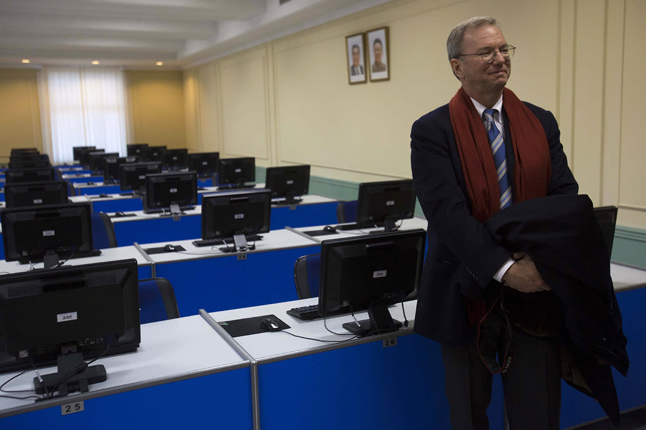 Executive Chairman of Google, Eric Schmidt tours a computer lab at Kim Il Sung University in Pyongyang, North Korea.