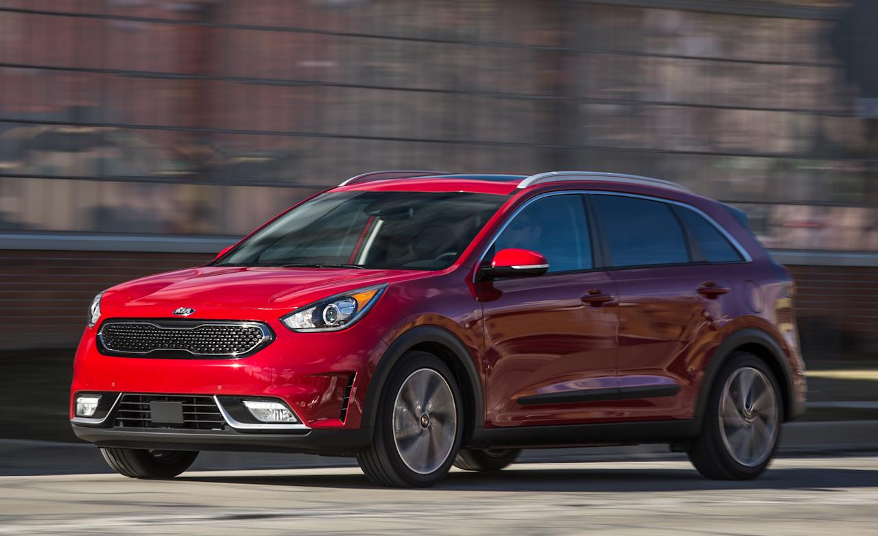 <p><strong>Kia Niro</strong><br /><strong>Price as tested: </strong>$26,805<br /><strong>Highlights: </strong>Good fuel economy combined with cargo versatility. Advanced safety features available on higher-end models.<br /><strong>Lowlights: </strong>Handling lacks agility, ride is a bit choppy.<br />(Car and Driver) </p>