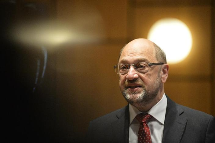 """Martin Schulz, leader of Germany's social democratic SPD party, said it was a """"difficult and bitter day"""" after losing the election (AFP Photo/Sascha Schuermann )"""