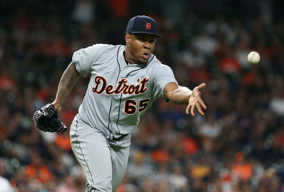 Detroit Tigers pitcher Gregory Soto tosses to first on a play during the eighth inning against the Houston Astros on Aug. 19, 2019 in Houston.