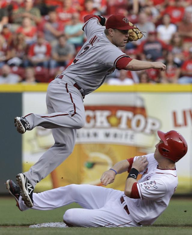 Cincinnati Reds' Todd Frazier slides hard into second base after he was forced out by Arizona Diamondbacks second baseman Aaron Hill (2) in the first inning of a baseball game, Tuesday, July 29, 2014, in Cincinnati. Hill threw to first to complete the double play. (AP Photo/Al Behrman)