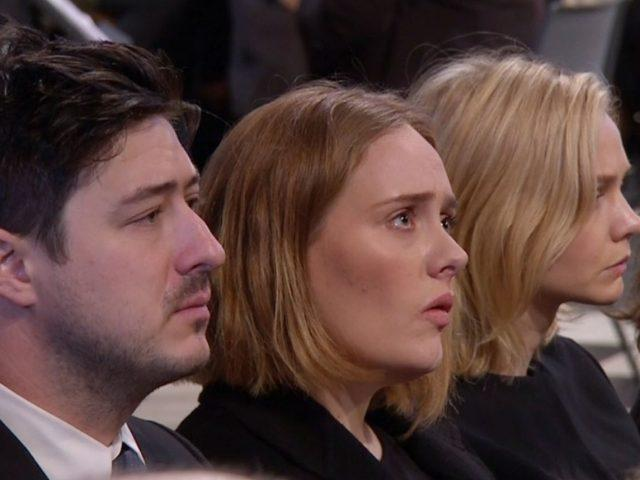 Adele was pictured between Marcus Mumford and Carey Mulligan (BBC/PA)