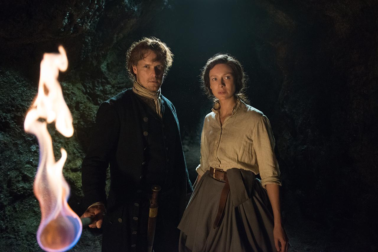 <p>Sam Heughan as Jamie Fraser, Caitriona Balfe as Claire Randall Fraser in Starz's Outlander.<br />(Photo: Starz) </p>