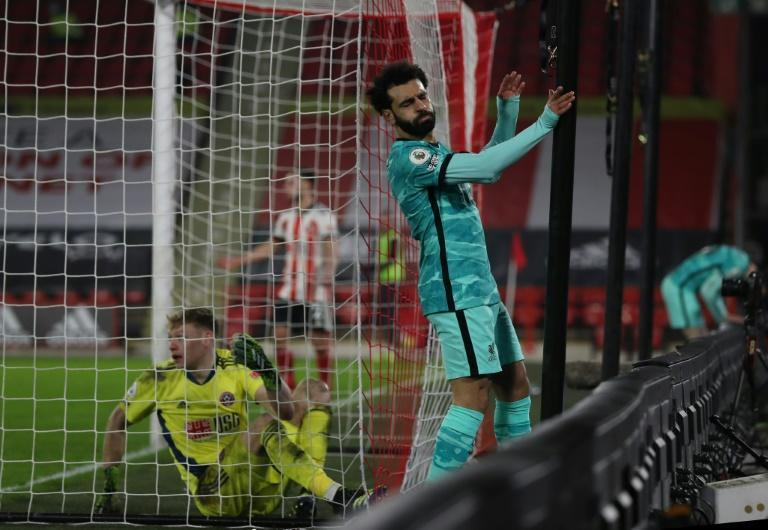Close call: Liverpool's Egyptian star Mohamed Salah just misses the target in the win at Sheffield United