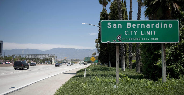 A San Bernardino sign on I-10 East is seen on Wednesday, July 11, 2012 in San Bernardino, Calif. The San Bernardino city council voted Tuesday night in favor of the city filing for bankruptcy. (AP Photo/Grant Hindsley)