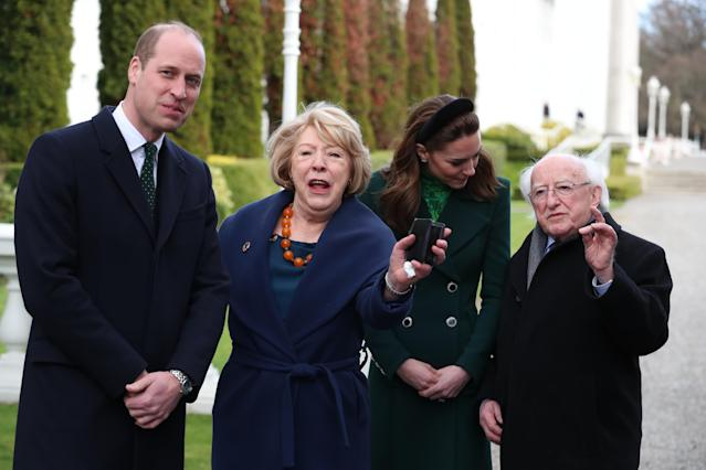 The Duke and Duchess of Cambridge with Michael D Higgins and Sabina Coyne ahead of laying a wreath. (Press Association)