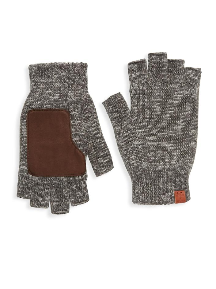 """$68, Saks Fifth Avenue. <a href=""""https://www.saksfifthavenue.com/product/bickley-mitchell-leather-patch-wool-fingerless-gloves-0400091791963.html"""" rel=""""nofollow noopener"""" target=""""_blank"""" data-ylk=""""slk:Get it now!"""" class=""""link rapid-noclick-resp"""">Get it now!</a>"""