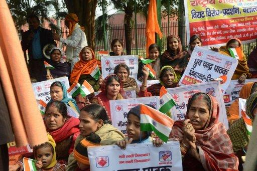Indian demonstrators urge better safety for women following the rape of a student, in New Delhi on December 26, 2012