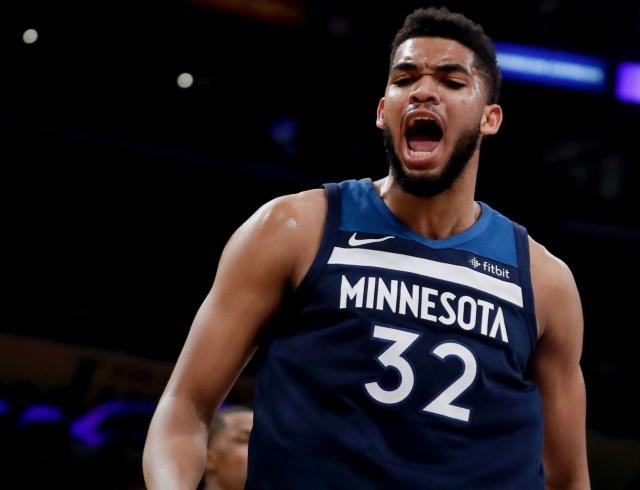 "<a class=""link rapid-noclick-resp"" href=""/nba/players/5432/"" data-ylk=""slk:Karl-Anthony Towns"">Karl-Anthony Towns</a> gave a shoutout to Shaquille O'Neal on Christmas. (AP)"