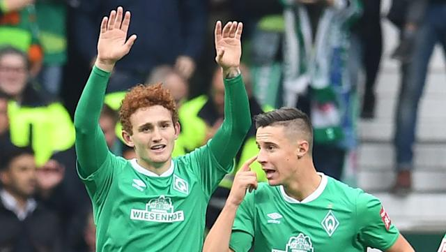 Werder's Sargent (l) with Marco Friedl (Photo by Carmen Jaspersen/picture alliance via Getty Images)