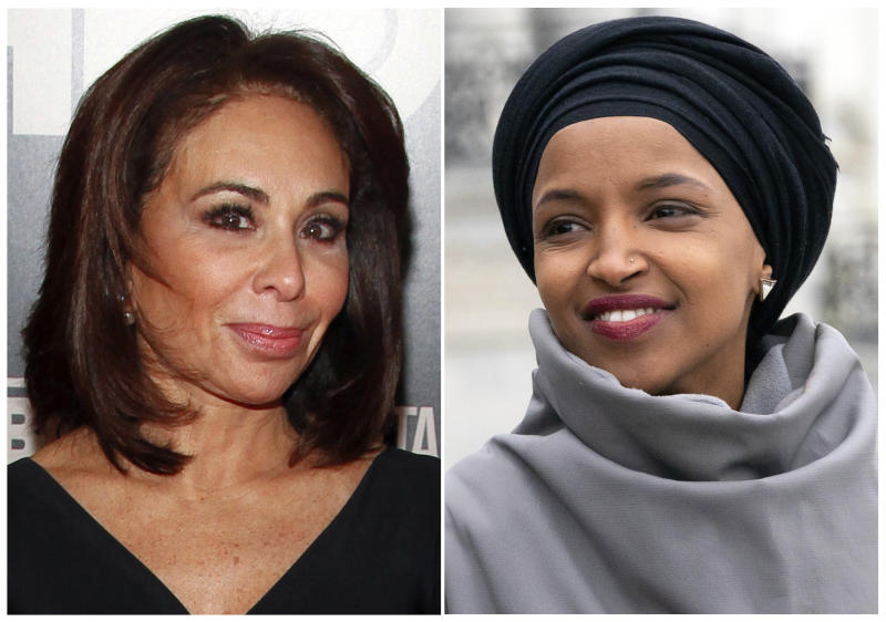 "This combination photo shows Fox News host Jeanine Pirro at the HBO Documentary Series premiere of ""THE JINX: The Life and Deaths of Robert Durst"" in New York on Jan. 28, 2015, left, and Rep. Ilhan Omar, D-Minn., at a rally outside the Capitol in Washington on March 8, 2019. Omar thanked Fox News on Monday, March 11, for condemning comments made on the network by Pirro centering on the freshman Democrat's wearing of a traditional Muslim head covering. Pirro questioned whether Omar's wearing a hijab indicated her adherence to Sharia law. (AP Photo)"