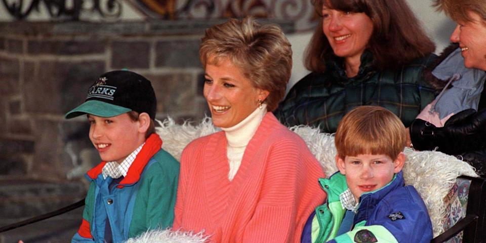 Princess Diana With Prince William & Prince Harry In Sleigh During Ski Holiday In Lech, Austria.