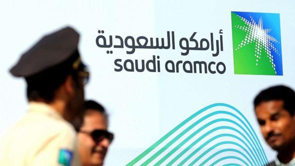 PHOTO: The logo of Aramco is seen as security personnel stand before the start of a press conference by Aramco at the Plaza Conference Center in Dhahran, Saudi Arabia, Nov. 3, 2019. (Hamad I Mohammed/Reuters, FILE)