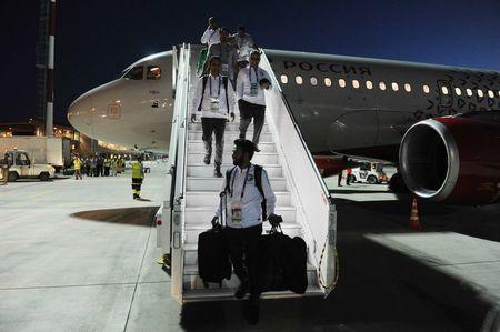 Players of Saudi Arabia's national soccer team leave Airbus A319 from St Petersburg in Rostov-on-Don, Russia June 19, 2018. REUTERS/Sergey Pivovarov