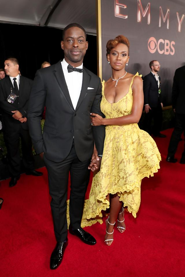 LOS ANGELES, CA - SEPTEMBER 17: Actors Sterling K. Brown (L) and Ryan Michelle Bathe walk the red carpet during the 69th Annual Primetime Emmy Awards at Microsoft Theater on September 17, 2017 in Los Angeles, California. (Photo by Rich Polk/Getty Images for IMDb)