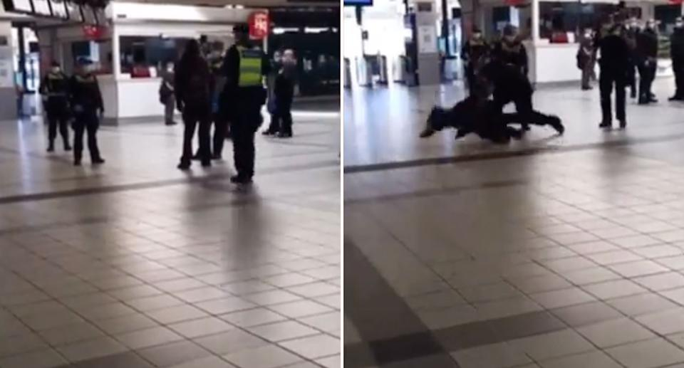 A video shared to social media shows a man being thrown by Victoria Police on Wednesday at flinders Street Station in Melbourne. Source: Twitter