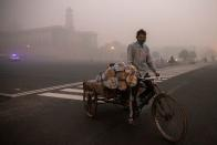 A man transports goods on his cycle cart near the parliament on a smoggy morning in New Delhi
