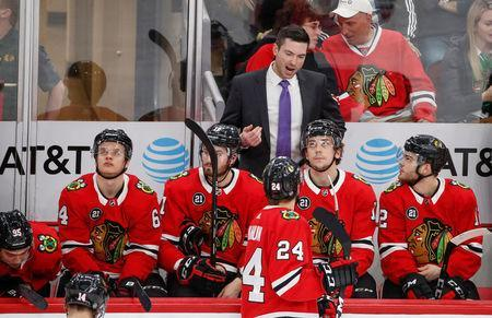 FILE PHOTO: Mar 18, 2019; Chicago, IL, USA; Chicago Blackhawks head coach Jeremy Colliton directs his team against the Vancouver Canucks during the third period at United Center. Mandatory Credit: Kamil Krzaczynski-USA TODAY/File Photo