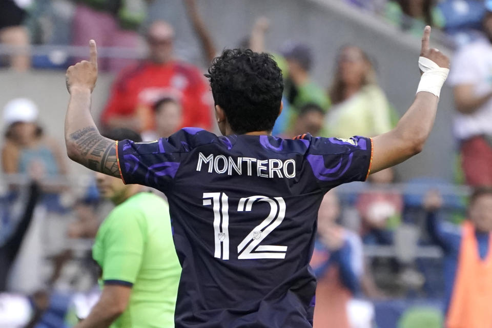 Seattle Sounders' Fredy Montero celebrates after he scored a goal against Sporting Kansas City during the second half of an MLS soccer match, Sunday, July 25, 2021, in Seattle. (AP Photo/Ted S. Warren)