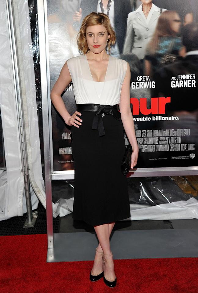 """<a href=""""http://movies.yahoo.com/movie/contributor/1809747218"""">Greta Gerwig</a> attends the New York City premiere of <a href=""""http://movies.yahoo.com/movie/1810167411/info"""">Arthur</a> on April 5, 2011."""