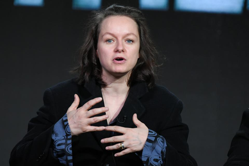 "Samantha Morton appears on stage during the ""The Last Panthers"" panel at the AMC 2016 Winter TCA on Friday, Jan. 8, 2016, in Pasadena, Calif. (Photo by Richard Shotwell/Invision/AP)"