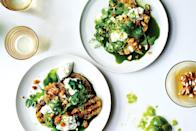 """Green tomatoes can get more than just fried. Here, they're grilled and then layered with burrata or mozzarella, herbs, toasted breadcrumbs, and a verdant dressing made with cilantro, cucumber, and lime juice. <a href=""""https://www.epicurious.com/recipes/food/views/grilled-green-tomatoes-with-burrata-and-green-juice-56389868?mbid=synd_yahoo_rss"""" rel=""""nofollow noopener"""" target=""""_blank"""" data-ylk=""""slk:See recipe."""" class=""""link rapid-noclick-resp"""">See recipe.</a>"""