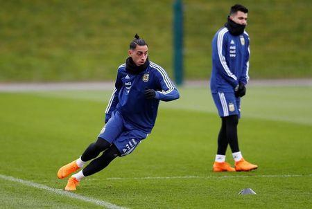 FILE PHOTO: Soccer Football - Argentina Training - City Football Academy, Manchester, Britain - March 20, 2018 Argentina's Ramiro Funes Mori during training Action Images via Reuters/Jason Cairnduff