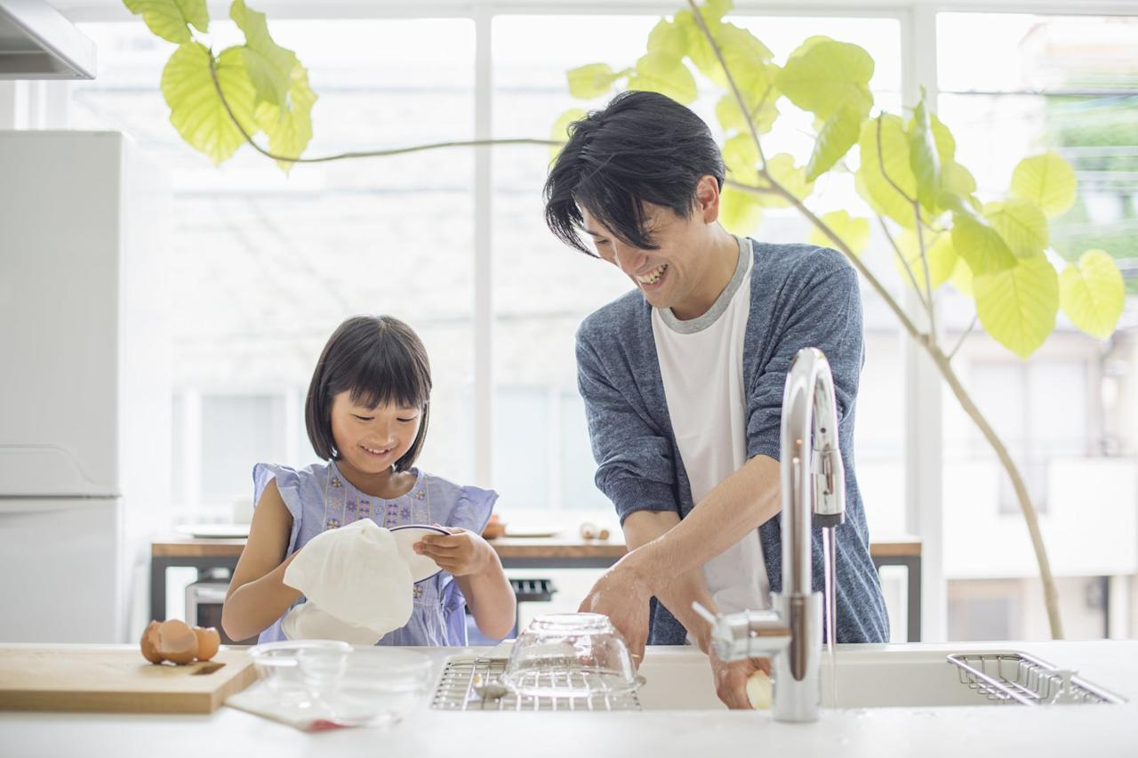 """<p>Instead of purchasing paper towels wrapped in plastic packaging, we choose to clean with <a href=""""https://www.popsugar.com/smart-living/best-sustainable-products-at-walmart-46664465"""" class=""""ga-track"""" data-ga-category=""""Related"""" data-ga-label=""""https://www.popsugar.com/smart-living/best-sustainable-products-at-walmart-46664465"""" data-ga-action=""""In-Line Links"""">washable towels</a>. In the kitchen, we use one for drying our hands, one for hardcore counter cleaning, and another for simple spills and messes. Although this took some time to get used to, it really isn't as difficult of a transition as we thought it would be.</p>"""