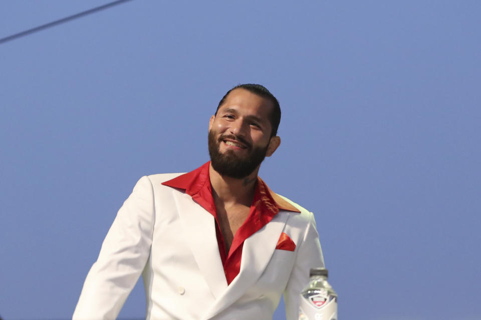 Jorge Masvidal is seen at a news conference for the UFC 244 mixed martial arts event, Thursday, Sept. 19, 2019, in New York. Masvidal is scheduled to fight Diaz Saturday, November 2 at Madison Square Garden. (AP Photo/Gregory Payan)