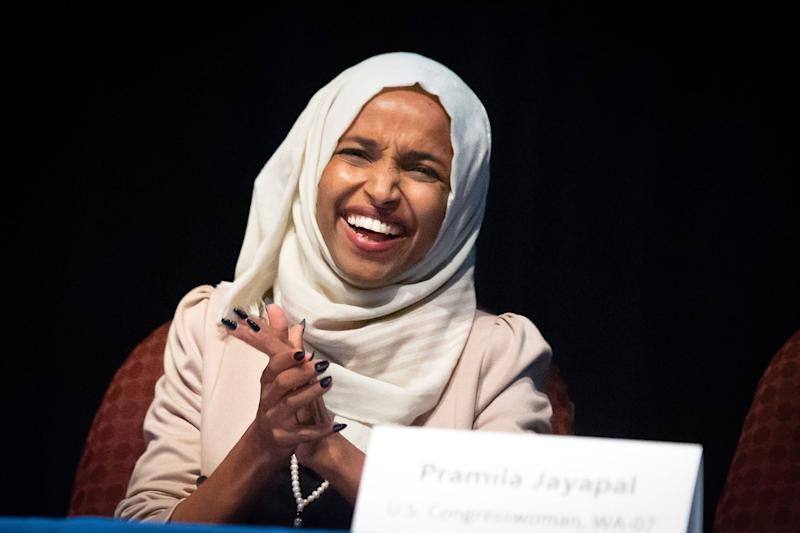US Representative Ilhan Omar (D-MN) speaks on stage during a town hall meeting at Sabathani Community in Minneapolis, Minnesota on July 18, 2019. (Photo by Kerem Yucel / AFP) (Photo credit should read KEREM YUCEL/AFP/Getty Images)