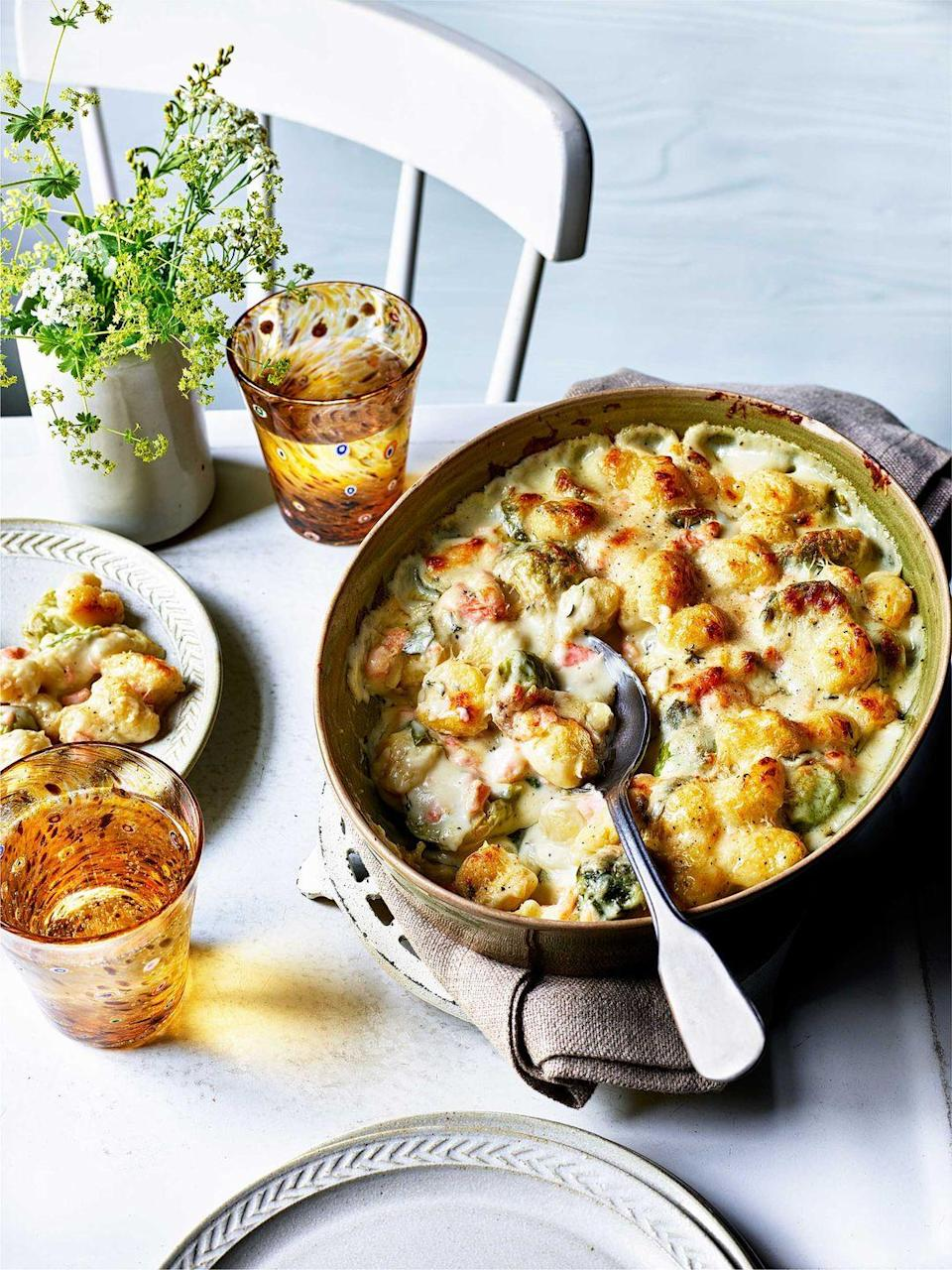 """<p>A rich and hearty dish that's just what's needed on a chilly evening. Use Cheddar if you don't have Gruyère.</p><p><strong>Recipe: <a href=""""https://www.goodhousekeeping.com/uk/food/recipes/a26006524/salmon-gnocchi-gratin/"""" rel=""""nofollow noopener"""" target=""""_blank"""" data-ylk=""""slk:Creamy salmon gnocchi gratin"""" class=""""link rapid-noclick-resp"""">Creamy salmon gnocchi gratin</a></strong></p>"""
