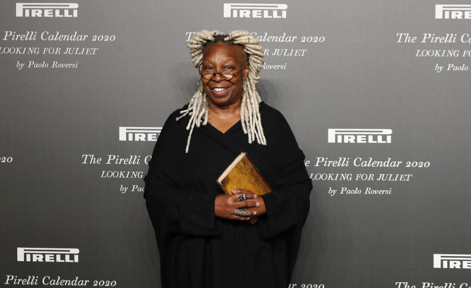 American actress Whoopi Goldberg poses for photographers at the 2020 Pirelli Calendar event in Verona, Italy, Tuesday, Dec. 3, 2019. (AP Photo/Antonio Calanni)