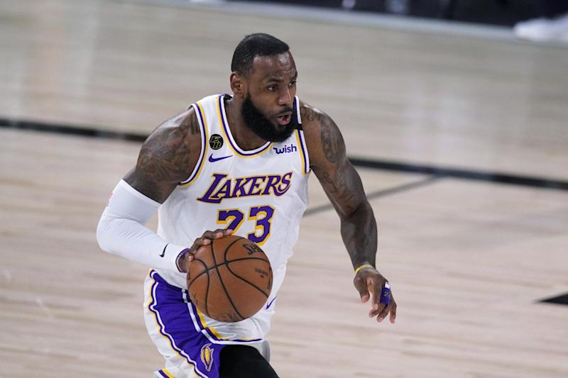 Lakers forward LeBron James controls the ball during Game 3.