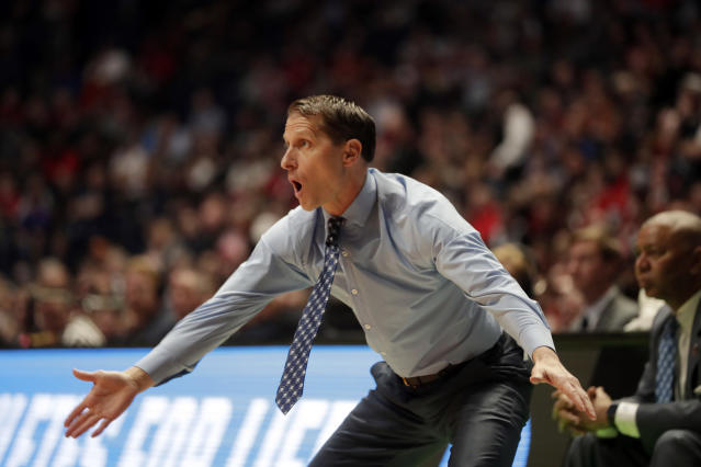 Nevada head coach Eric Musselman dropped come colorful language on live TV after beating Texas in the NCAA tournament on Friday. (AP)