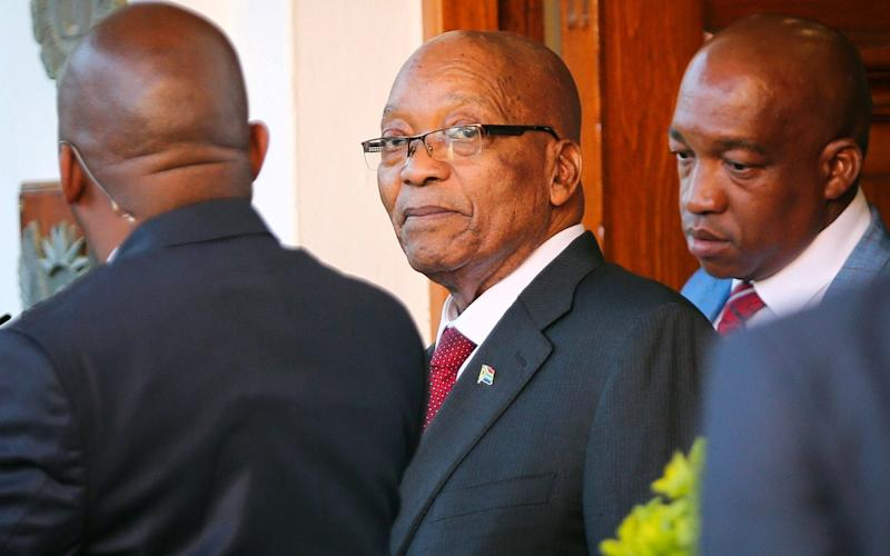 Jacob Zuma leaves Tuynhuys, the office of the Presidency in Cape Town - REUTERS