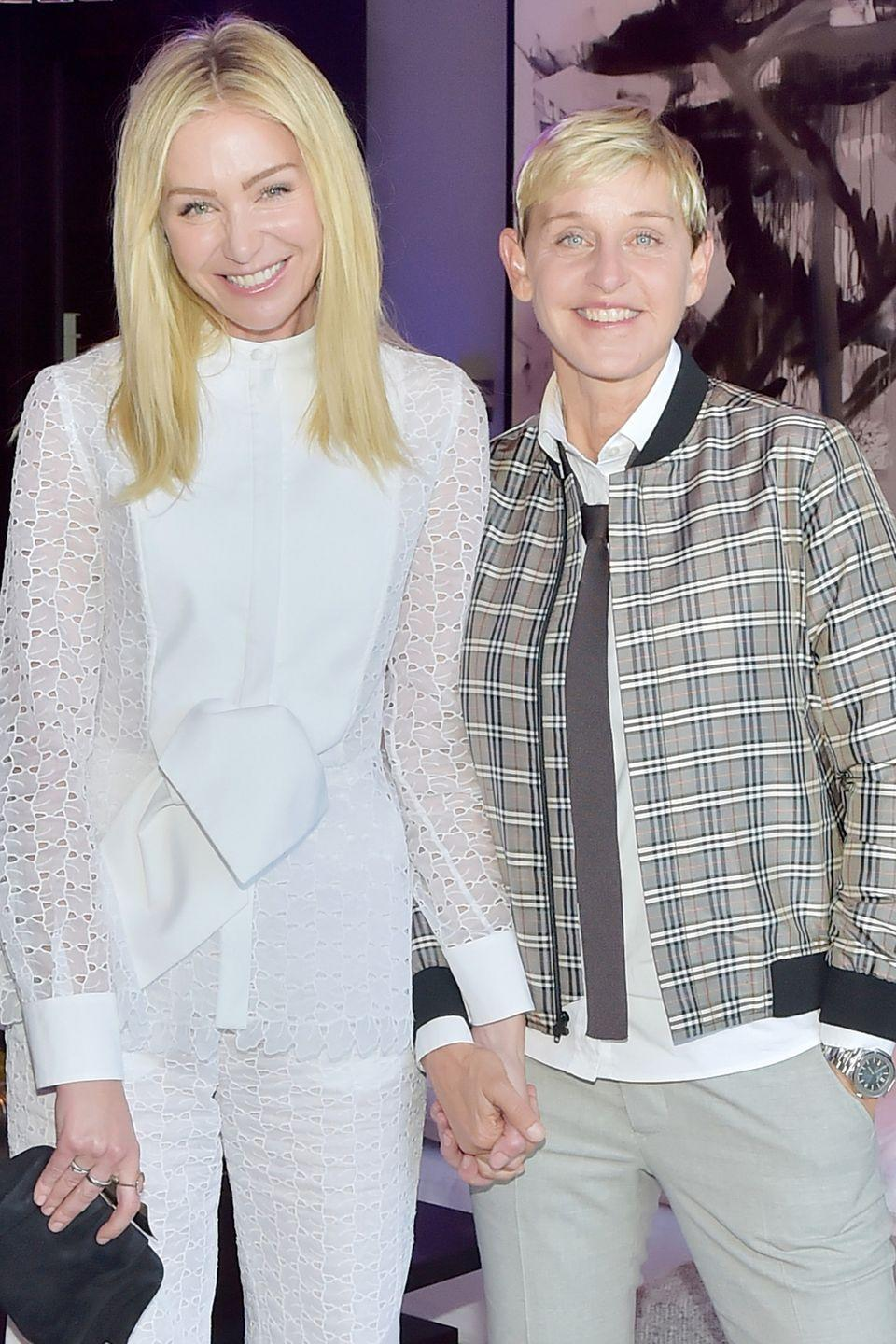 "<p>Ellen and Portia started dating in 2004, and were <a href=""https://www.countryliving.com/life/inspirational-stories/a45160/ellen-degeneres-portia-de-rossi-love-story/"" rel=""nofollow noopener"" target=""_blank"" data-ylk=""slk:later married"" class=""link rapid-noclick-resp"">later married</a> in 2008 after the California Supreme Court overturned the ban on same-sex marriage. ""I'm so grateful for the love in my life,"" DeGeneres told <em><a href=""http://people.com/tv/ellen-degeneres-on-finding-love-of-her-life-with-portia-de-rossi-we-are-so-lucky/"" rel=""nofollow noopener"" target=""_blank"" data-ylk=""slk:People"" class=""link rapid-noclick-resp"">People</a></em> in 2016. ""Because not everybody finds that. Not everybody finds that best friend."" </p>"