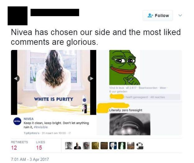 Alt Right and White Supremist comments under Nivea campaign