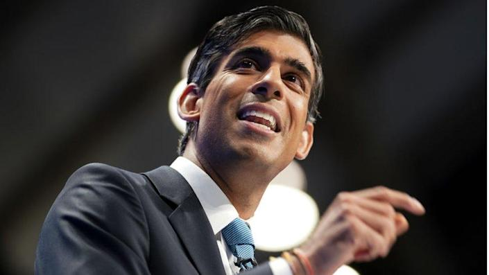 Rishi Sunak, Chancellor of the Exchequer delivers his keynote speech during the Conservative Party Conference.