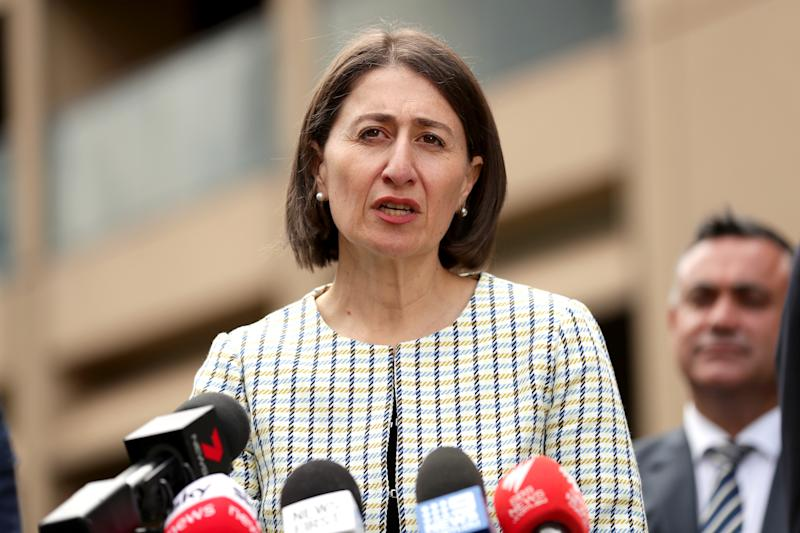 New South Wales Premier Gladys Berejiklian addresses the media during a press conference to update on COVID-19, at NSW Parliament House on March 17, 2020 in Sydney, Australia. The number of confirmed COVID-19 cases is now at 379 in Australia, with five deaths. NSW has the greatest number of confirmed cases with 171 people infected. (Photo by Mark Metcalfe/Getty Images)