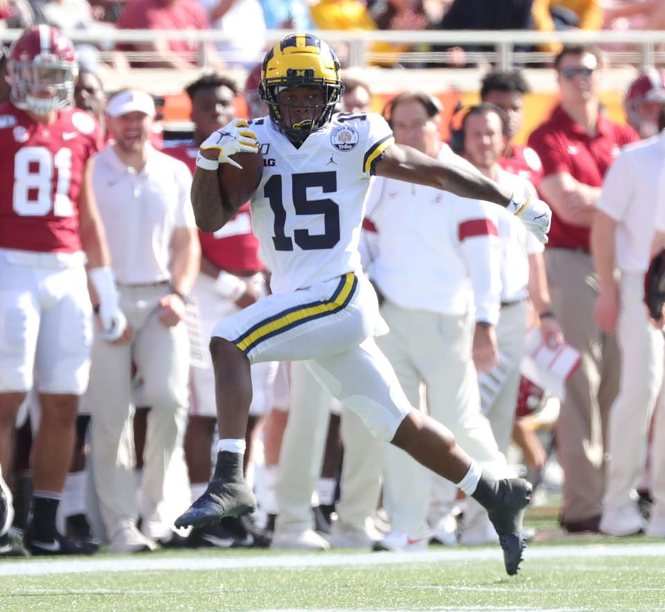 Michigan wide receiver Giles Jackson runs for a first down during the first half of U-M's 35-16 loss in the Citrus Bowl on Wednesday, Jan. 1, 2020, in Orlando, Florida.