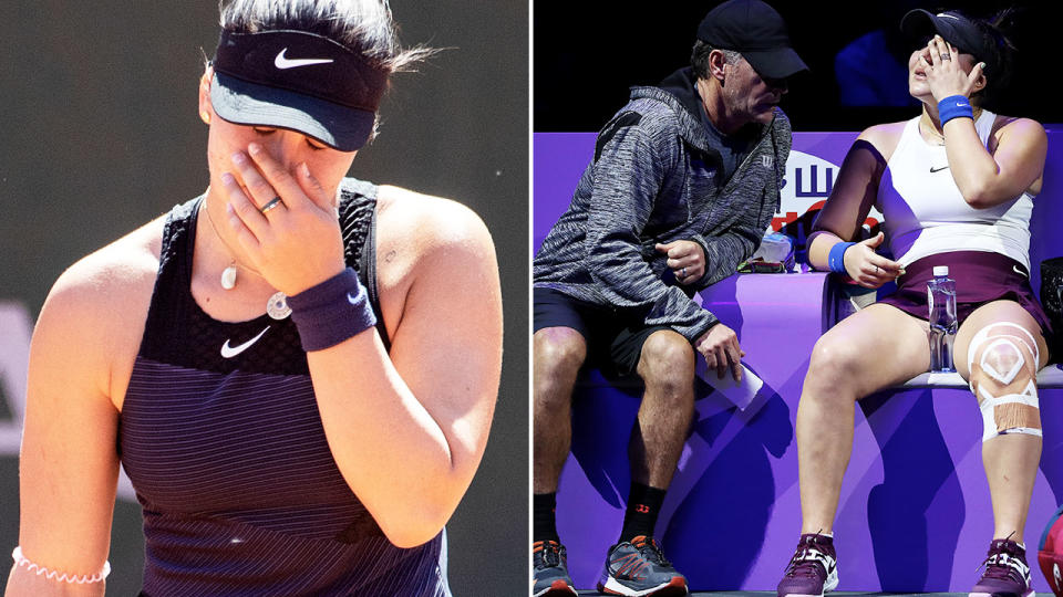 Bianca Andreescu, pictured here after losing in the first round at the French Open.