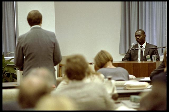 1990: Ben Johnson in the dock during the Dubin enquiry. Mandatory Credit: Allsport UK