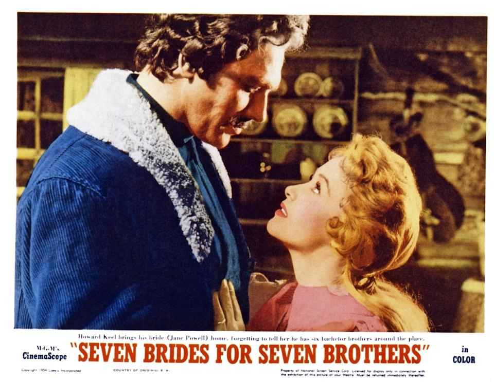 A front-of-house or lobby card for the film in which she played Howard Keel's bride - LMPC via Getty Images